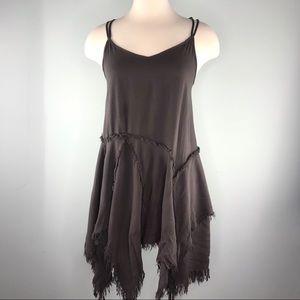 Free People Charcoal Grey Tattered Slip Dress
